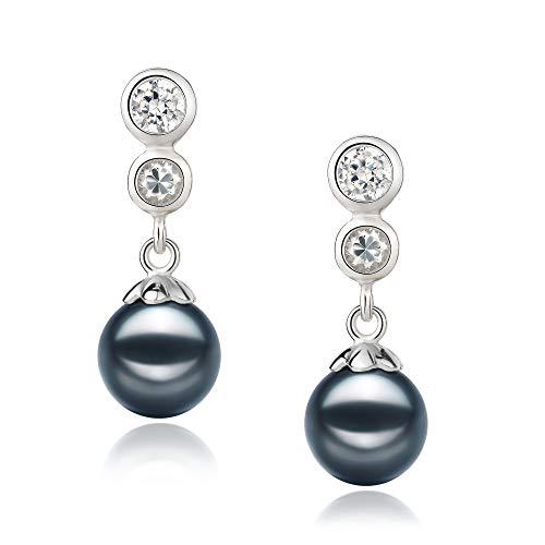 Colleen Black 7-8mm AA Quality Japanese Akoya 925 Sterling Silver Cultured Pearl Earring Pair For Women