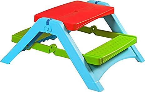 Pal Play Childrenu0027s Picnic Table With Red Top/Green Seat/Blue Structure