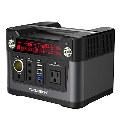 floureon 300W 280Wh/78000mAh Portable Power Station Solar Generator Power Supply Solar with 110V AC Outlet, QC3.0 USB, 12V/24V DC, Charged by Solar Panel/Wall Outlet/Car Charger ()