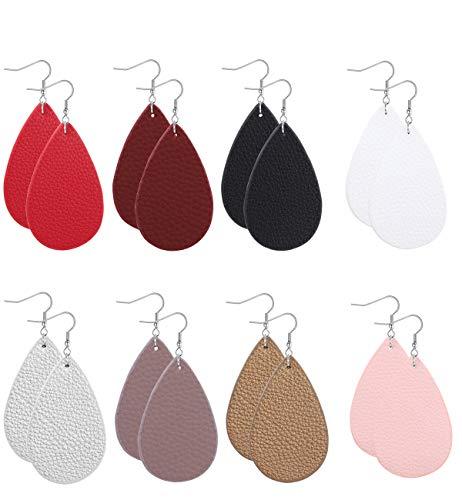 FIBO STEEL 8 Pairs Lightweight Leather Drop Earrings for Women Girls Boho Teardrop Dangle Earring Set ()