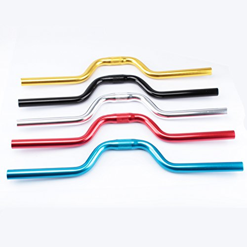 Bicycle Handlebar Length 520mm Rise 80mm Intermediate 25.4mm Both ends 22.2mm Black Red Blue Silver Gold Aluminum alloy
