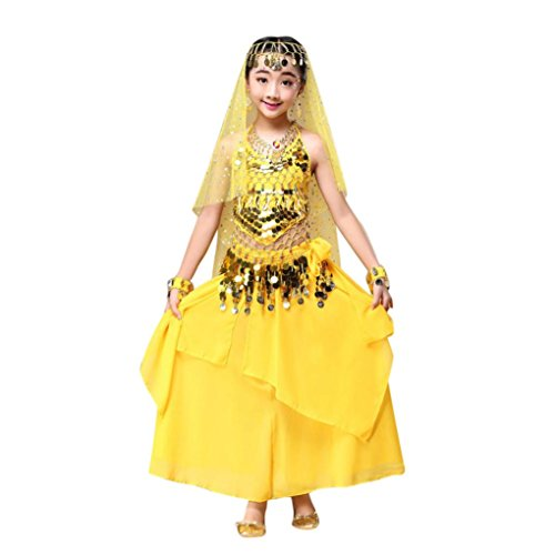 Belly Dance Costumes Sewing Patterns (LandFox Kids' Girls Belly Dance Outfit Costume India Dance Clothes Set : Top + Skirt (S, Yellow))