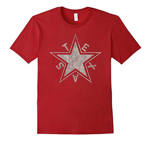 Mens Texas Lone Star State Flag T-Shirt Grungy Light V1 XL Cranberry (Red Flag V1)