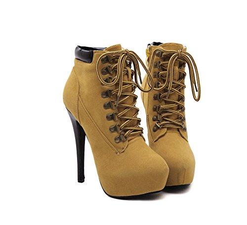 Boots Bequeme LIANGXIE Sexy Martin Ankle ZHHZZ Ferse Baumwollschuhe Damen Kreuzriemen Hochhackige Braun Stiefel Einfarbig Gelb AwEBqwfxv