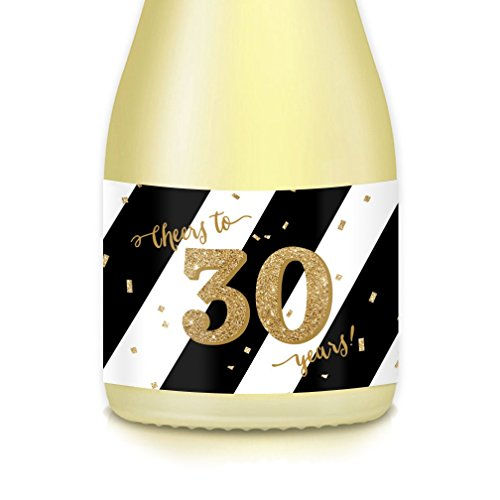 30th Birthday or Thirtieth Wedding Anniversary Party Ideas, Decorations - 20 Count Mini Champagne or Wine Bottle Labels, Woman Celebrating 30 Years Old, Wife, Girlfriend, Fiancée, Sister, -