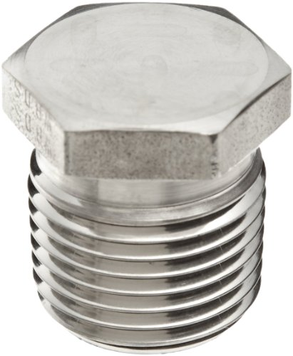 Parker Stainless Steel 316 Pipe Fitting, Hex Head Plug, 1/8