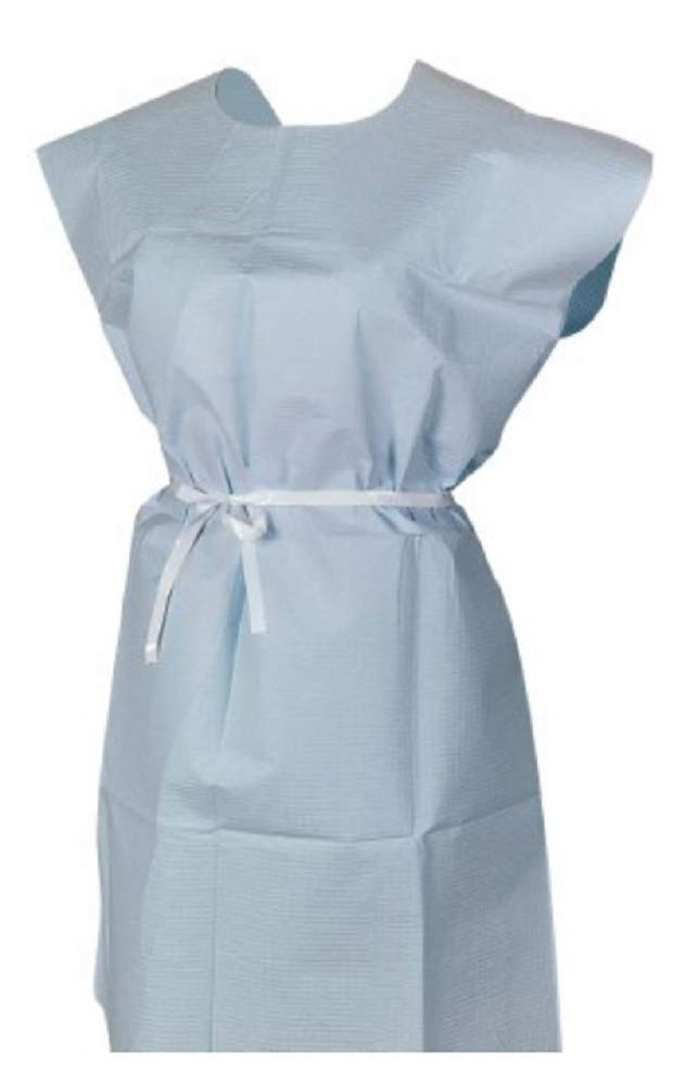 AMZ 50 pack Patient Gowns 30 x 42. Blue Disposable Exam Gown for clinic, hospital, healthcare needs. Non-sterile Latex Free Gowns with Waist Belt. Short sleeves. Lightweight, breathable. One size.