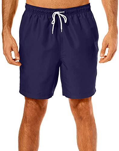 Boca Classics Mens Solid Drawstring Swim Trunks X-Large Peacoat Blue ()