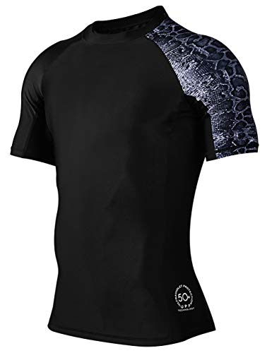 HUGE SPORTS Men's Splice UV Sun Protection UPF 50+ Skins Rash Guard Short Sleeves (Leopard Print,XL)
