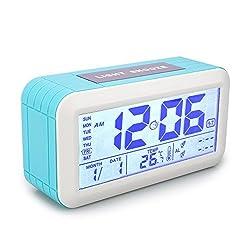 Digital Alarm Clock, Tsumbay Large Display Travel Alarm Clock with Touch Sensor Snooze & Backlight, Temperature, 2 Set Alarms, 3 Optional Weekday Modes Desk Clock for Bedroom, Kids