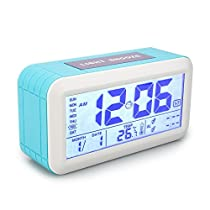 Digital Alarm Clock Tsumbay Morning Clock with 2 Alarms Large Display Battery Operated with Calendar Snooze Dimmer 3 Workday Modes Temperature For Kids Heavy Sleepers Bedrooms OfficeBlue