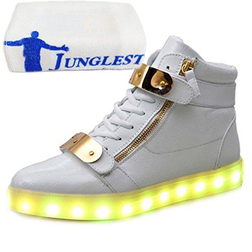 (Present:kleines Handtuch)JUNGLEST Herren Damen High-Top LED Light Glow Sneaker athletischen Sportsschuh Weiß