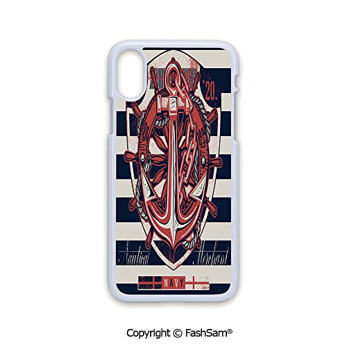 Phone Case Compatible with iPhone X Black Edge Marine Symbol Design Rudder Rope Anchor Chain Navy Striped Backdrop Merchant Decorative 2D Print Hard Plastic Phone Case ()