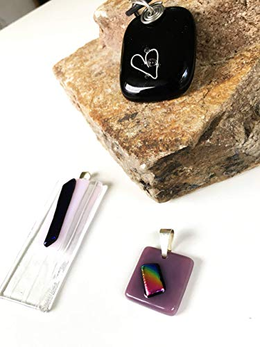 Pendant Necklace Set of 3 for Woman and Men Handmade Designer Black, Clear, Purple with Dichroic Fused Glass Accents Great for Birthday Gift, Wedding Gift, Anniversary Gift or a Special Occasion