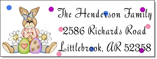 (tkniftylabel Easter Bunny & Polka DOTS #59 Return Address Labels)