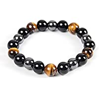 Triple Protection Bracelet - For Protection - Bring Luck And Prosperity - Hematite - Black Obsidian - Tiger Eye - Stone…
