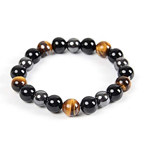 Triple Protection Bracelet - For Protection - Bring Luck And Prosperity - Hematite - Black Obsidian - Tiger Eye - Stone Bracelets (Black Obsidian)