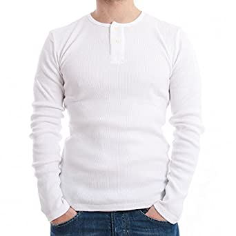 200fd61b25a Levis Men's Long-Sleeved T-Shirt Skinny Rib Henley White Size XXL ...