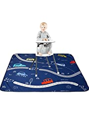 "51"" Waterproof Splat Mat for Under High Chair, Anti-Slip Floor Splash Mat, Portable Feeding Mat, Play Mat and Table Cloth for Art/Crafts (Cars)"