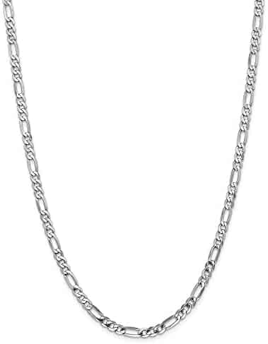 14k White 20in Gold 5.0mm Flat Figaro Necklace Chain