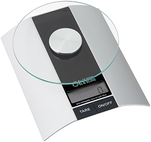 Best Kitchen Food Scale - 9lb 15oz Weight Limit (5kg) - Multifunction Electronic Digital Scale for Baking & Cooking - Silver & Black - Perfectly Measure Liquid & Dry Ingredients - From Oliver & Kline