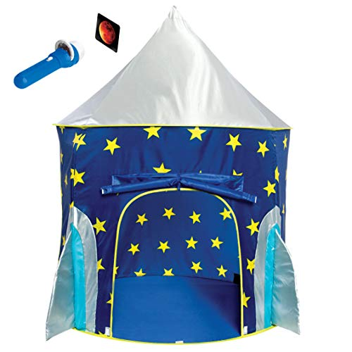 Childrens Play Tent - Rocket Ship Play Tent for Boys - Rocket Ship Tent, Astronaut Space Tent for Kids w/ Projector Toy for Indoor Outdoor Kids Pop Up Rocket Tent Fort