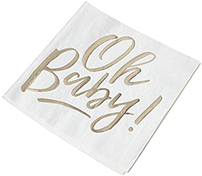 OH BABY BEVERAGE NAPKINS PK16 TABLEWARE PARTY SUPPLIES