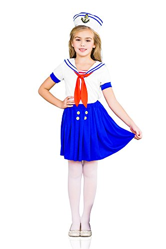 Girls' Sea Sweetie Sailor Navy Ship Mate Dress Up & Role Play Halloween Costume (8-11 years) (Cute Little Girl Halloween Costumes)
