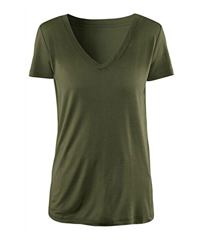 Muke Women's V Neck Slim Army Green Olive Military Style T-shirt Size S