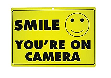 photograph relating to Smile You're on Camera Sign Printable known as Fresh new Smile Youre Upon Digicam Yellow Office Safety Indicator CCTV Video clip Surveillance