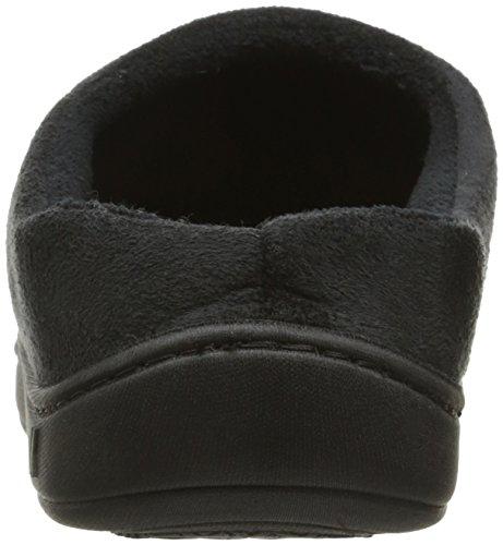 ISOTONER Men's Microsuede Devin Hoodback Slippers Black QEbg8vU