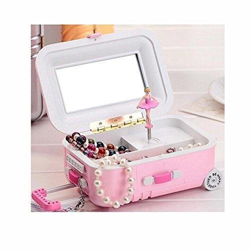 OOFYHOME Music Box-Jewelry Storage Box Trolley Luggage Music Box-Birthday Gift-Girl`s Gift