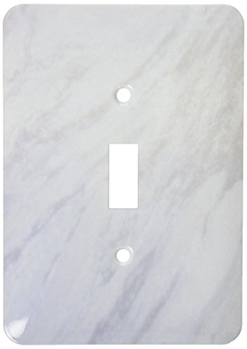 3dRose lsp_157655_1 Gray Marble Print Texture Photo Print Smooth White and Light Grey Marbled Stone Look Graphic Light Switch Cover