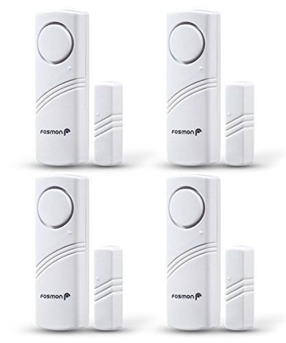 Fosmon Wireless Window and Door Entry Alarm Safety System, Burglar Security Alert Sensor, Easy to Install Battery Operated Loud 115db Siren for Home, Business, Doors, Windows, Garages - 4 Pack by Fosmon