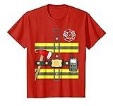 Kids Kids Fireman Shirt - Firefighter Halloween Costume 6 Red