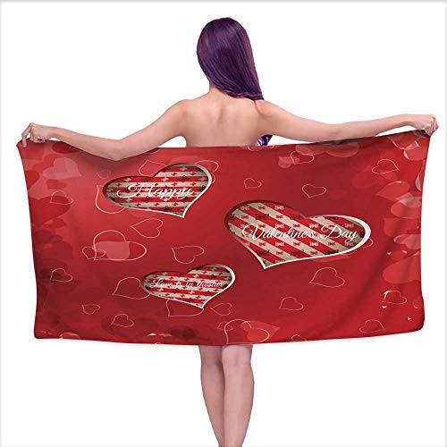 Aurauiora Printed Bath Towel Vector Happy Valentine s Day Gradient Background with Cutout red Heart,W31 xL63 for Toddlers