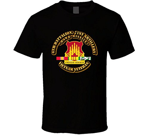 (LARGE - 6th Battalion, 71st Artillery(HAWK Missile) with SVC Ribbon T Shirt - Black)