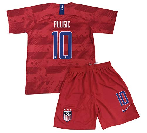 2019/2020 Christian Pulisic #10 USA National Team Away Soccer Jersey & Shorts for Kids/Youths (11-13 Years Old) Red ()