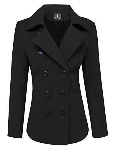 Tom's Ware Womens Trendy Double Breasted Wool Pea Coat TWCWC06-BLACK-M (Double Breasted Coat Jacket)
