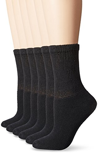 Fruit of the Loom Women's 12 Pack Premium Soft Spun Comfort Crew Socks, Black, Shoe Size 4-10/Sock Size 9-11 (Socks Crew Comfort)