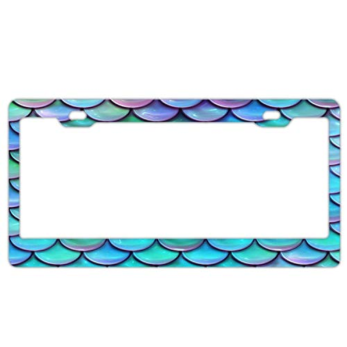 - YEX Abstract Shiny Blue & Purple Mermaid Scales License Plate Frame Car Licence Plate Covers Auto Tag Holder 6