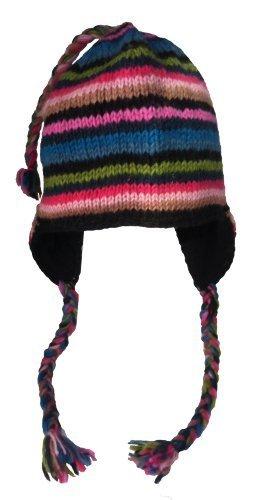 (Nepal Hand Knit Sherpa Hat with Ear Flaps, Trapper Ski Heavy Wool Fleeced Lined Cap (Teal & Fuchsia))