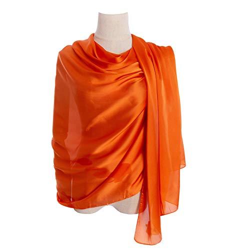 (Cyzlann Women's Scarves 100% Silk Long Lightweight Scarfs for women (orange))