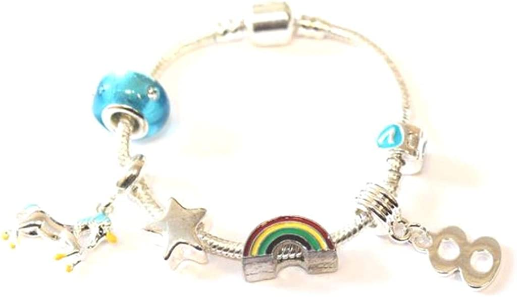 Children/'s Granddaughter /'Magical Unicorn/' Silver Plated Charm Bead Bracelet