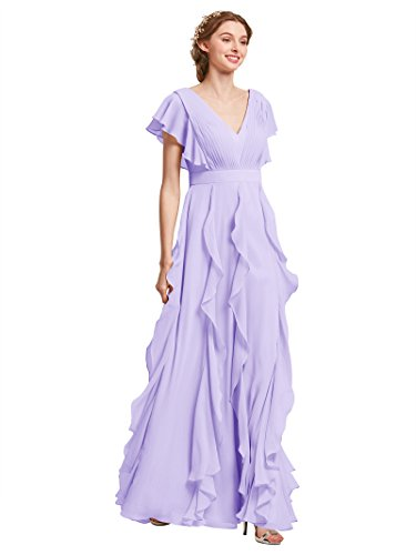 AW Bridal Long Bridesmaid Dresses for Women Formal Dresses with Sleeves Chiffon Gowns and Evening Dresses, Lilac, -