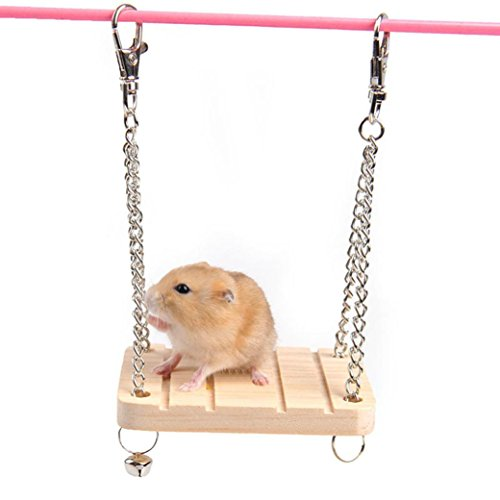 Eleventen Pet Hamster Small Animal Wood Swing Hammock Cage Hanging Seesaw Play Toys 8.8*7*1cm