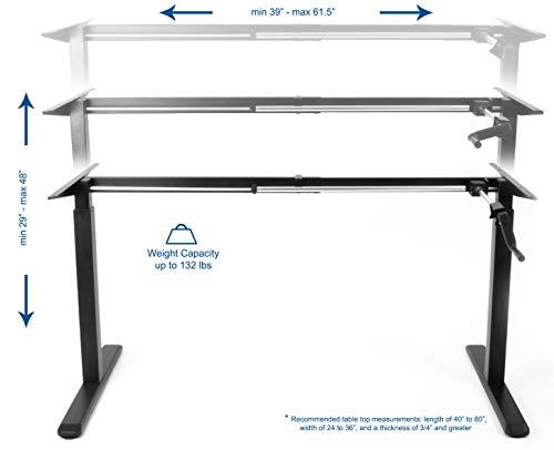VIVO Black Manual Height Adjustable Stand Up Desk Frame with Hand Crank System, Ergonomic Standing 2 Leg Workstation (DESK-V101M)