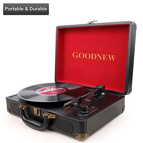 GOODNEW Vinyl Record Player Turntable, Built in Speakers, Support Headphone & RCA Output and AUX (3.5mm) Input Jack (Black)