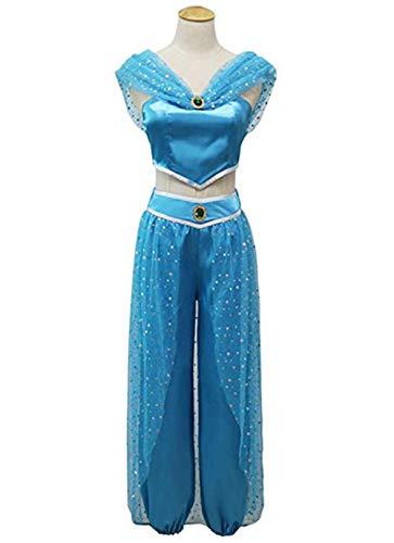 (lioraitiin Womens Girls Jasmine Princess Dress up Halloween Cosplay Party Costume (S,)