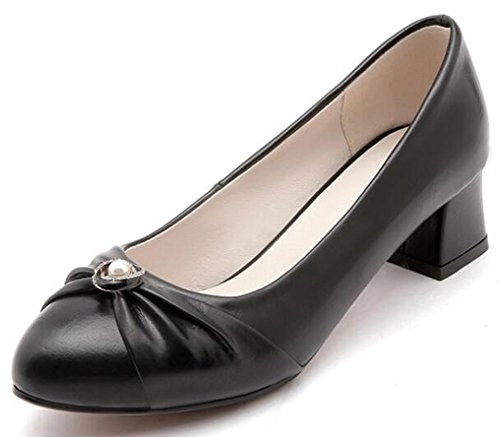 Idifu Strass Donna Formale Metà Tacchi Larghi Punta Rotonda Slip On Slip Shoes Nero